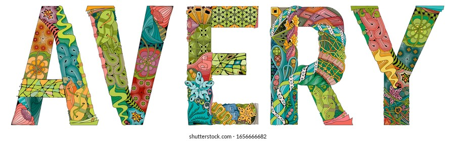 Female name Avery. Vector decorative zentangle object
