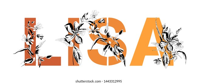 Female name Lisa. Decorative floral font in orange color. Typography in the style of modern, vintage.