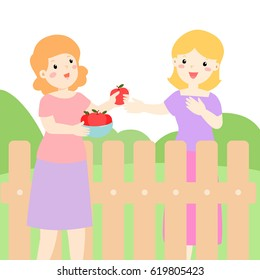 Female neighbor friendly give apples bowl greeting vector illustration