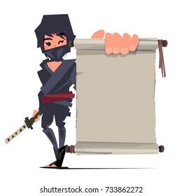 female ninja warrior showing old paper to presenting. ninja technique concept - vector illustration