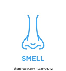 Female nose icon. Smell symbol. Human nasal breath sign. Blue vector graphic line style illustration isolated on white background.