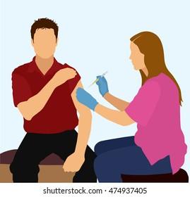 Female Nurse Giving Patient a Shot