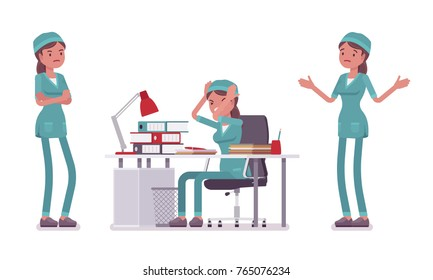 Female nurse in negative emotions. Young woman in hospital uniform, tired and exhausted at work. Medicine and healthcare concept. Vector flat style cartoon illustration isolated on white background