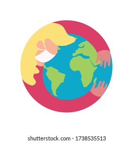 Female Nurse Wearing Mask Holds and Hugs the World. Protecting and Healing the World from Global Pandemic. Simple Flat Design Vector. Drawing Illustration.