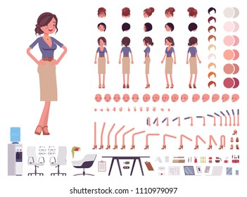 Female office secretary creation set. Attractive woman helper in work and business. Full length, different views, emotions, gestures. Build own design. Cartoon flat-style infographic illustration