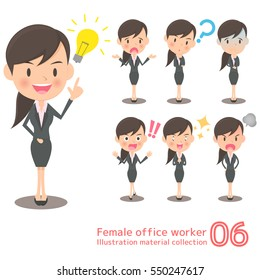 Female office worker illustration material collection
