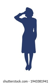 female officer military silhouette icon