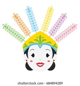 Female ondel - ondel, Jakarta - Betawi culture. Cartoon vector illustration.