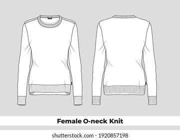Female O-neck knit silhouette template