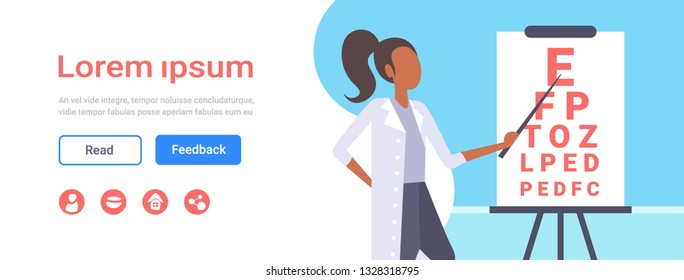 female ophthalmologist checking male patient eyesight doctor oculist pointing letters at eye chart medicine and healthcare concept oculists office interior portrait horizontal copy space