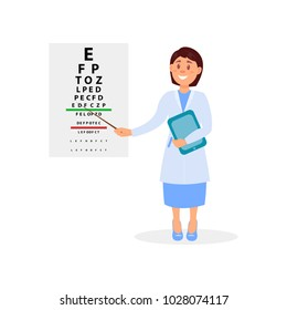 Female ophthalmologist holding digital tablet and pointing at letters of eye chart. Vision test. Oculist s office. Doctor in white coat. Medical service. Flat vector design