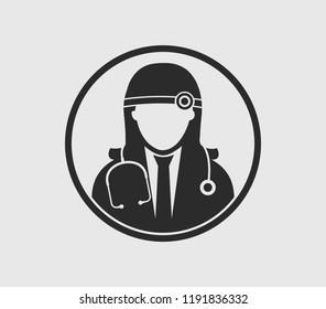 Female Otorhinolaryngologist medical icon with circle shape. Flat style illustration.