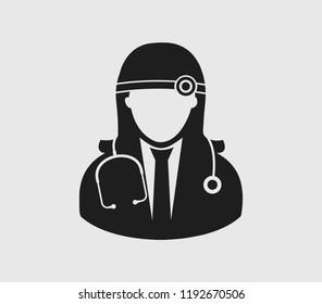 Female Otorhinolaryngologist medical icon. Flat style illustration.