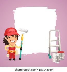 Female Painter With Text Box In the EPS file, each element is grouped separately.