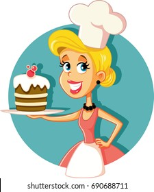 Female Pastry Chef Baking a Cake Vector Illustration Cartoon woman cook making a perfect confectionery dish