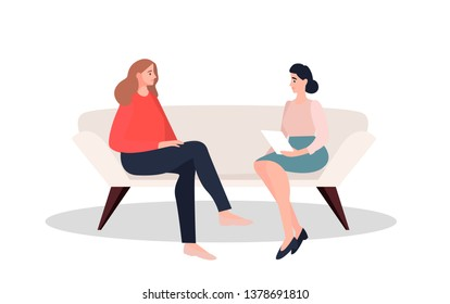 Female patient in armchair and fmale psychologist, psychoanalyst or psychotherapist sitting in front of her and talking. Psychology, psychotherapy, psychological aid. Flat cartoon vector illustration.