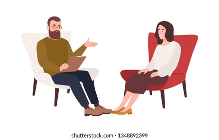 Female patient in armchair and male psychologist, psychoanalyst or psychotherapist sitting in front of her and talking. Psychology, psychotherapy, psychological aid. Flat cartoon vector illustration.