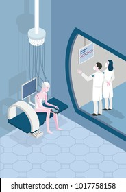 Female patient in a futuristic hospital. 