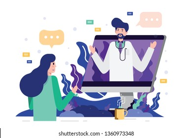 Female patient meeting a professional doctor online on a computer desktop. Technology Innovation and medicine concept. flat design vector illustration