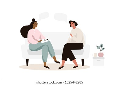 Female patient with psychologist or psychotherapist sitting on sofa. Psychotherapy session. Mental health, depression. Flat vector illustration.