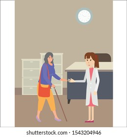 Female patients walking.Docter helps her to go to the walker.