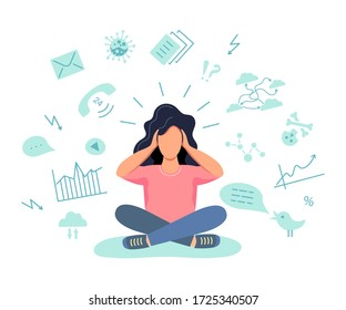 Female person gets too much information. Information and data overload concept. Mental health concept. Digital information overload. Flat cartoon design styles vector illustration.