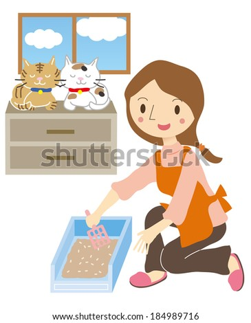 female pet sitter take care cat stock vector royalty free