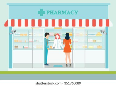 Female pharmacist at the counter in a pharmacy opposite of shelves with medicines, building exterior front view and interior, drug store Health care conceptual vector illustration.
