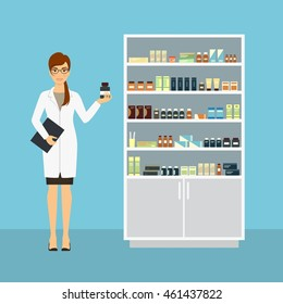 Female pharmacist in pharmacy standing near shelve with medicines. Vector illustration