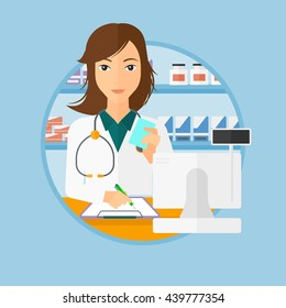 Female pharmacist writing on clipboard and holding prescription in hand. Pharmacist in medical gown standing at pharmacy counter. Vector flat design illustration in the circle isolated on background.
