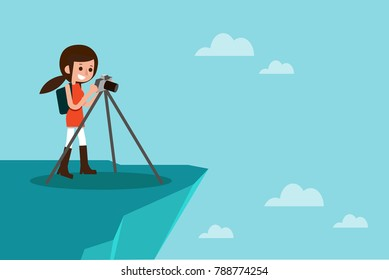 Female photographer taking photo on top of mountain, vector.