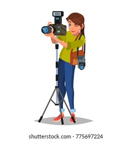 Female Photographer Vector. Studio Photo. Taking Professional Pictures. Flat Cartoon Illustration