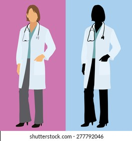 Female Physician / Doctor in a Lab Coat with Stethoscope