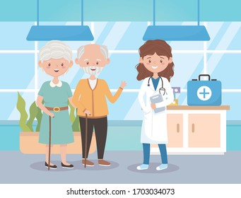 female physician and grandparents in hosptial, doctors and elderly people vector illustration