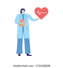 female physician with medical mask and heartbeat health vector illustration