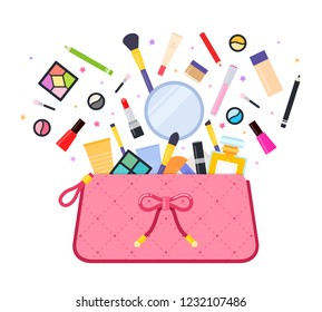 Female pink cosmetic bag with cosmetic products departing from it vector icon flat illustration isolated on white