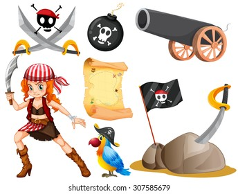 Female pirate and other symbols illustration