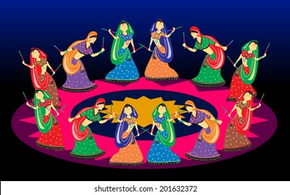 Female playing dandiya on Navratri (Garba dance)