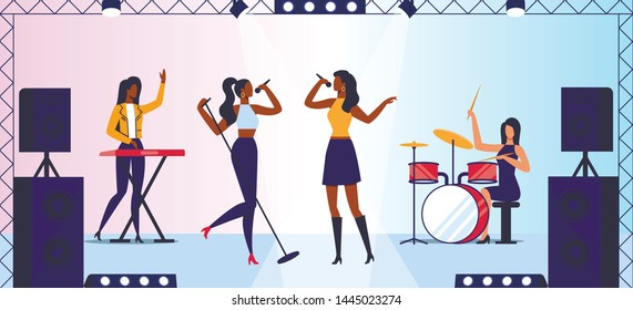 Female Pop Rock Band Concert Vector Illustration. Singers Duet, Drummer and Keyboard Player Cartoon Characters. Talented Young Musicians, Performers Live Performance. Rock n roll music Stage Show