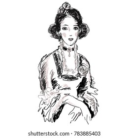 Female portrait in antique style. Hand drawn young charming lady in ball gown of victorian era for design, prints, posters, illustrations, banners, advertising, articles, decor