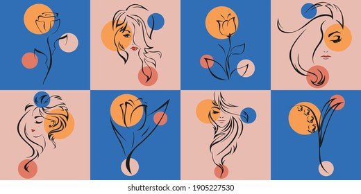 Female portrait and flowers. Vector set of design templates and illustrations in minimal linear style.  Minimalistic modern art. Beauty and fashion concept.