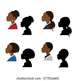Female portrait in profile and silhouette on white background, cartoon vector illustration