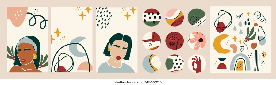 Female portraits. Paper cut mosaic style. Modern illustrations. Social media backgrounds. SmartPhone wallpapers, round icons. Abstract shapes and objects. Highlight covers. Hand drawn big vector set