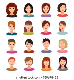 Female portraits. Young woman heads with various hairstyle vector avatars stock. Face woman portrait head illustration