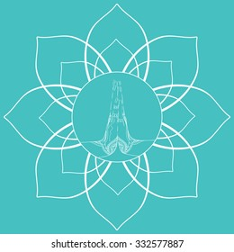 Female praying hands  in the mehendi in the lotus flower for yoga studios and your design