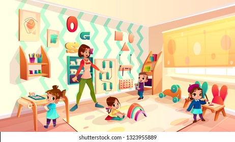 Female preschool nursery nurse, kindergarten teacher playing with children in modern, equipped classroom cartoon vector illustration. Montessori school, early childhood education service concept