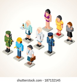 Female Professional People. 3D Vector Icons. Set of Isometric Figures of Businesswoman, Waiter, Model, Soldier, Pharmacologist, Engineer, Office Girl and Clerk.