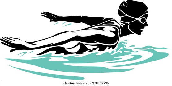 Female Professional Swimmer doing butterfly stroke