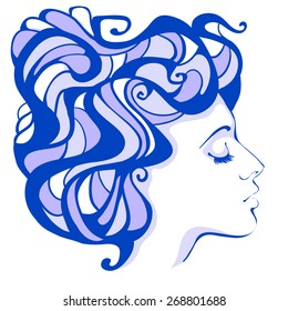 Female profile lilac in the Art Nouveau style