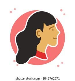 Female Profile Photo Silhouette Symbol Illustration. Woman Head Avatar Icon Flat Style. Pretty Girl Person Avatars Logo Premium Vector. People Cartoon Character User Profile